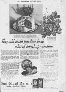 "Fig.35. ""They had to old familiar foods a bit of stored-up sunshine"". Satudary Evening Post, 21 octobre 1924. p. 99. Source : J. Walter Thompson Company. 35mm Microfilm Proofs, 1906-1960 and undated. Reel 35.Comme pour Fleischmann, la rhétorique publicitaire marie habilement l'ancien et le nouveau, le familier et l'inconnu et ici le familial et l'impersonnel, le proche et le lointain, le naturel et l'industriel (stored-up), etc. Le terme « sunshine » participe à la construction du mythe solaire."