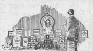 """Fig.9a. Un modèle réaliste de vitrine pour inspirer les vendeurs. """"A sale of Sun-Maid Raisins sells them all! (détail)"""" Indianapolis News. 20 décembre 1924. Publicité pour Sun-Maid Raisins. Source : J. Walter Thompson Company. 35mm Microfilm Proofs, 1906-1960 and undated. Reel 35."""