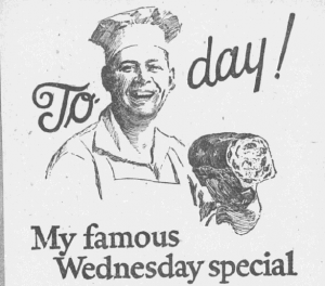 "Fig.4a Un boulanger à visage humain. ""My famous Wednesday Special"" (détail). Boston Post, 21 mai 1924. Source : J. Walter Thompson Company. 35mm Microfilm Proofs, 1906-1960 and undated. Reel 35."