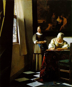 Fig.26. Johannes Vermeer, Lady writing a letter with her maid, v. 1660-1670. 71.1 × 58.4 cm. Dublin, National Gallery of Ireland