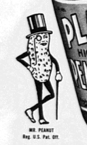 """Fig.26a. """"Mr. Peanut"""" : un exemple d'incarnation publicitaire. """"No ration point for Planters Peanut Butter"""" (détail). Publicité pour  Planters Peanut Butter. Philadelphia Bulletin, 7 décembre 1943. Source : J. Walter Thompson Company. 35mm Microfilm Proofs 1906-1960 and undated. Reel 60. Planters Nuts & Chocolate Co. (1943-1944)."""