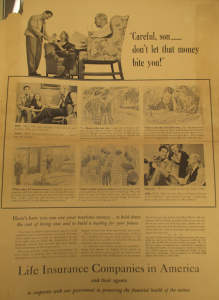 """Fig.35. Careful, son - don't let that money bite you! - Life Insurance Companies of America. Source : J. Walter Thompson Company. World War II Advertising collection, 1940-1948 and undated. Box 2 (Oversize) """"War Bond Advertisements, 1942-1945 and n.d"""""""