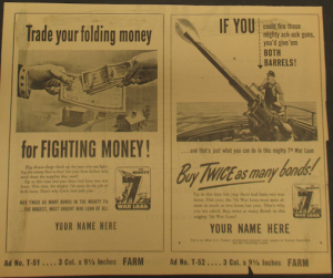 """Fig.37. """"If you could fire those mighty ack-ack guns, you'd give 'em both barrels!"""" Affiche de propagande pour le """"Mighty 7th War Loan"""". Source : J. Walter Thompson Company. World War II Advertising collection, 1940-1948 and undated. Box 2 (Oversize) """"War Bond Advertisements, 1942-1945 and n.d"""""""