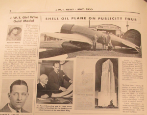 """Shell Oil Plane on Publicity Tour"". J.W.T. News. Mai 1930. Vol. XII, no. 50, p.8. Source : J. Walter Thompson Company. Newsletter collection, 1910-2005. Oversize Newsletters, Box OV1 (1930-1931"