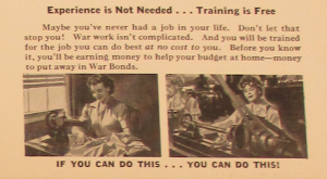 "Fig.73c - ""Sewing"". Fig. 73 - ""America Needs Women Like you in War Jobs"" (détail). Source inconnue, non datée. Source : J. Walter Thompson Company. World War II Advertising Collection, 1940-1948 and undated. Box 2 - ""America Recruiting Women for War-Related Work, 1944 and undated"""