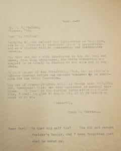 """Fig.6 - Lettre de recommandation adressée par Frank E. Morrisson à M.F. Sletzer (Bloomer, Wisconsin). 4 mars 1940. Crow, Carl (1883 - 1945), Papers, 1913-1945, """"Correspondence Series"""", Folder 170 (1940  March). The State Historical Society of Missouri. Manuscript Collections, C41. Cette lettre témoigne de la volonté de Crow de se réinsérer dans les milieux publicitaires américains à son retour. Parmi les garanties de Crow figurent son appartenance dcomme membre du très sélectif 'Advertising Club of New York', son expertise dans les affaires d'Extrême-Orient et ses qualités d'orateur."""
