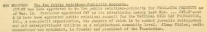 """Fig. 99 - """"National Kids Day Foundation"""" - The J.W.T News. 7 mars 1949, vol.IV, no.10, p.1. Source : J. Walter Thompson Company. Newsletter collection, 1910-2005. Box MN9 (1945-1950). Cette note annonce que JWT vient d'obtenir un nouveau contrat de publicity avec cette association à but non lucratif orientée vers la lutte contre la délinquance juvénile et l'aide aux enfants défavorisés."""