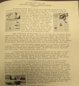 """Fig. 113 - """"JWT Campaign - Ford juvenile campaign"""". The J.W.T News, 17 novembre 1947, p.3. Source : J. Walter Thompson Company. Newsletter collection, 1910-2005. Box MN9 (1945-1950). Ford tente ici de rajeunir son pool de consommateurs et par voie de conséquence les produits qu'elle fabrique ainsi que sa propre image de marque. Cette stratégie de rajeunissement peut être considérée comme un prolongement du fordisme : d'abord mis en pratique pour démocratiser l'usage de l'automobile aux plus basses classes sociales, le principe de démocratisation s'appliquerait désormais aux catégories d'âge."""