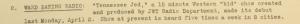 """Fig. 119a -  """"Ward Baking Radio"""" - The J. Walter Thompson Bulletin. 14 avril 1945, p.1. Source : J. Walter Thompson Company. Newsletter collection, 1910-2005. Box MN9 (1945-1950). Le court feuilleton radiophonique pour enfant Tennessse Jed (a 15 minute Western """"kid"""" show) créé par JWT pour la compagnie Ward Baking illustre l'efficacité de la radio pour atteindre les jeunes consommateurs et de l'imaginaire du Western, déjà largement exploité dans les comics de l'entre-deux-guerres (Planters' Peanut notamment). La publicité participe ainsi à la construction d'une culture jeune américaine peuplée de cow-boys et de bandits."""