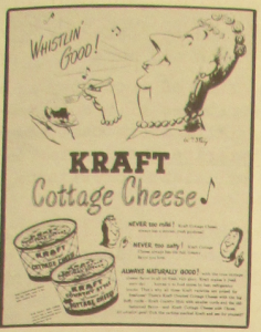 "Fig. 131b - ""JWT Campaign - Kraft Cottage Cheese"" (détail - femme) - The J.W.T News. 11 avril 1949, vol.III, no.15, p.3. Source : J. Walter Thompson Company. Newsletter collection, 1910-2005. Box MN9 (1945-1950)."