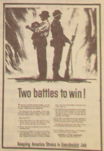 "Fig.  - ""Two battle to win"" - ""Institute for Life Insurance - Brakes Timely New Advertising Theme Today (détail)"" - The J.W.T News. 14 août 1950, vol.V, no.33, p.1. Source : J. Walter Thompson Company. Newsletter collection, 1910-2005. Box MN9 (1945-1950)."