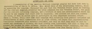 """Fig. - """"Advertising Men Note !"""" - The J.W.T News. 13 octobre 1947, vol.2, no.41, p.2. Source : J. Walter Thompson Company. Newsletter collection, 1910-2005. Box MN9 (1945-1950). La note annonce la présentation (Free Train Play) de la campagne American Heritage par les employés municipaux de New York."""