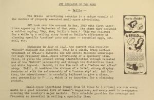 """Fig. 161 - """"Hey, Mom, Brillo's back"""". """"JWT Campaign - Brillo"""". J.W.T. Weekly News, 7 octobre 1946, p.3. Source : J. Walter Thompson Company. Newsletter collection, 1910-2005. Box MN9 (1945-1950). La compagnie Brillo cherche à capitaliser sur la mémoire encore fraîche des soldats à leur retour du front et l'expérience sensible que les civils ont eue de la dernière guerre."""