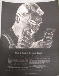 "Fig.34. ""Want a share in the show-down"" – Makers of Bicycle And Congress Playing Cards. Life, 18 octobre 1943, p.119. Source : J. Walter Thompson Company. World War II Advertising collection, 1940-1948 and undated. Box 2 (Oversize) ""War Bond Advertisements, 1942-1945 and n.d"""