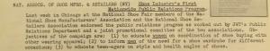 """Fig. 206 – """"Shoe Industry's First Nationwide Public Relations Program"""". The J.W.T News. 8 novembre 1948, vol.III no.45, p.1. Source : J. Walter Thompson Company. Newsletter collection, 1910-2005. Box MN9 (1945-1950). La campagne à pour ambition de modifier les pratiques vestimentaires des consommateurs en fonction de leur sexe et de leur âge. La note identifie trois groupes de consommateurs auxquels sont assignés trois usages différents dans le port des chaussures : les femmes doivent être habituées à assortir chaussures et vêtements dans le cadre d'un plus large body project ; les hommes doivent apprendre à varier les chaussures qu'ils portent en les adaptant à chaque événement, les jeunes (teen-age) doivent être sensibilisés aux questions de style et à la dimension sanitaire des chaussures. Cette dernière démarche qui associe étroitement la jeunesse et la santé rappelle la croisade de la marque Keds avant la guerre contre les pieds plats des enfants."""