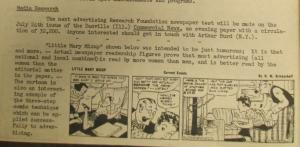 """Fig. 208 – """"Media Research - Comic advertising 'Little Mary Mixup'"""" - The J.W.T News. 14 juillet 1947, vol.2, no.28, p.2. Source : J. Walter Thompson Company. Newsletter collection, 1910-2005. Box MN9 (1945-1950). Cette note conforte l'idée reçue que les publicités notamment sous forme de comics toucheraient davantage les femmes jeunes que les hommes. Elle contrarie d'autres notes postérieures qui pourraient suggérer une masculinisation du lectorat des comics publicitaires."""