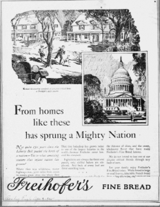 "Fig.16 - ""From Home Like these has sprung a Mighty Nation"". Publicité pour Freihofer's Fine Bread, Reading Eagle, 9 avril 1925. Source : J. Walter Thompson Company. 35mm Microfilm Proofs, 1906-1960 and undated. Reel 9."